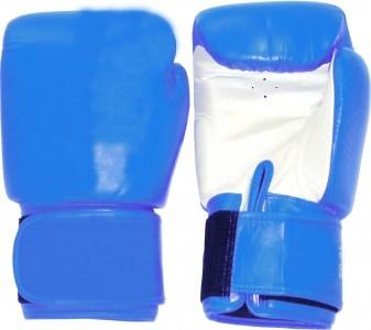 Boxhandschuhe Profi Echtleder blau-weiß