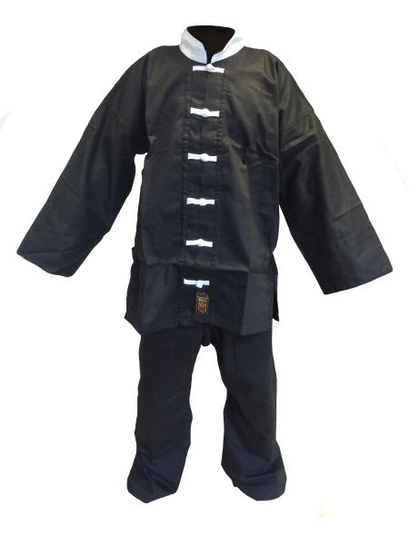 Kung-Fu Anzug / Taiji-Anzug Traditional II schwarz mit weißen Knöpfen
