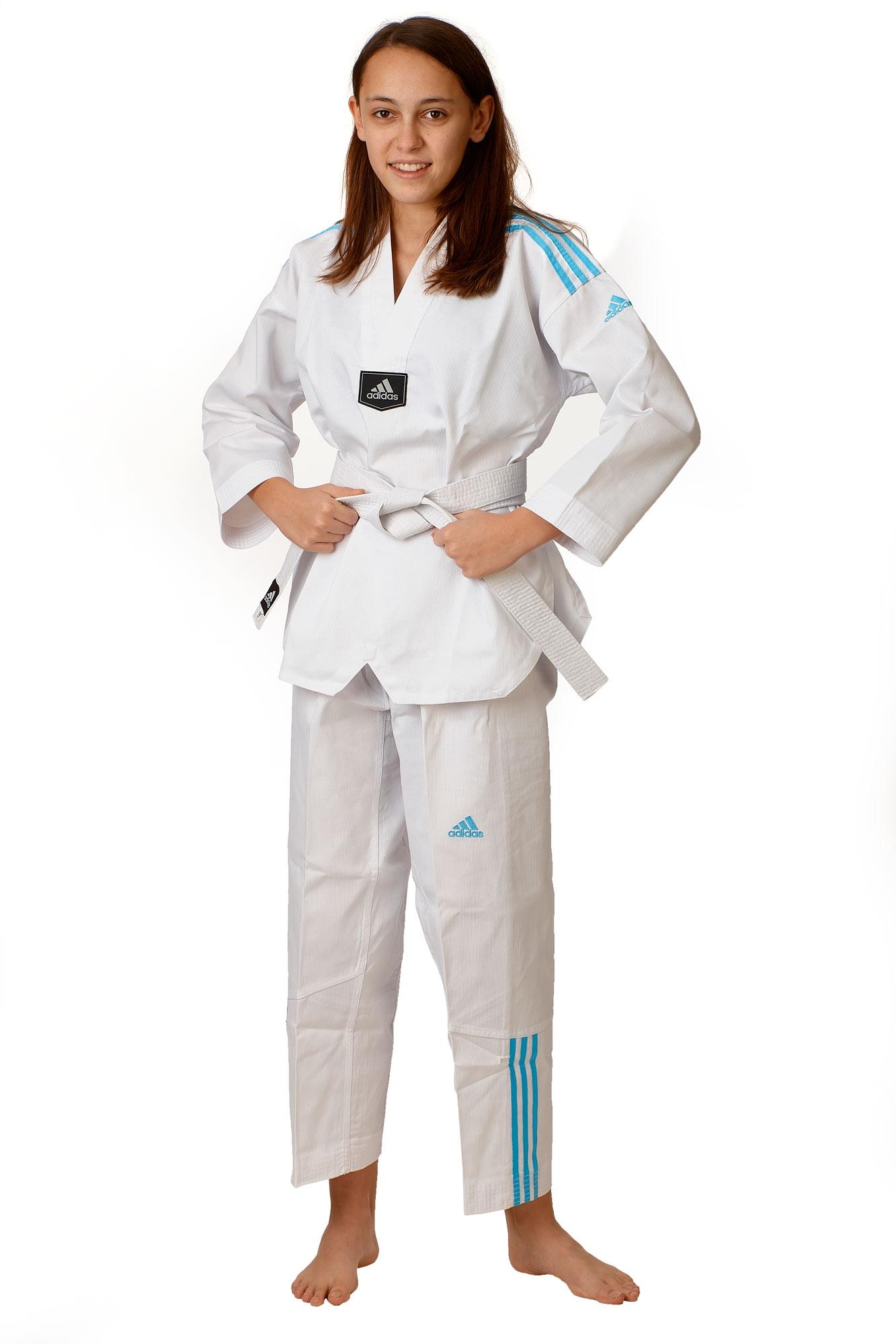 ADIDAS Taekwondo Anzug Adi Club 3 sripes weißes R. blaue Streifen