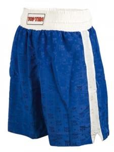 TOP TEN Boxhosen Satin blau (weiße Streifen)