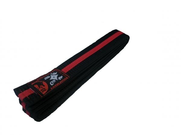 GÜRTEL schwarz, roter Mittelstreifen
