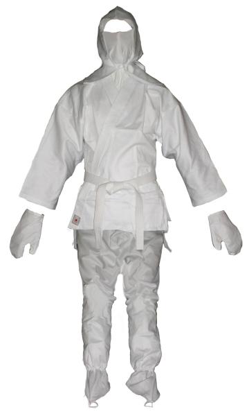 Ninjutsu / Ninja-Anzug Standard mit Kopfmaske, weiß