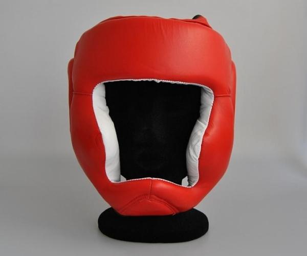 Sparring Kopfschutz, mit Jochbeinschutz, Echtleder rot