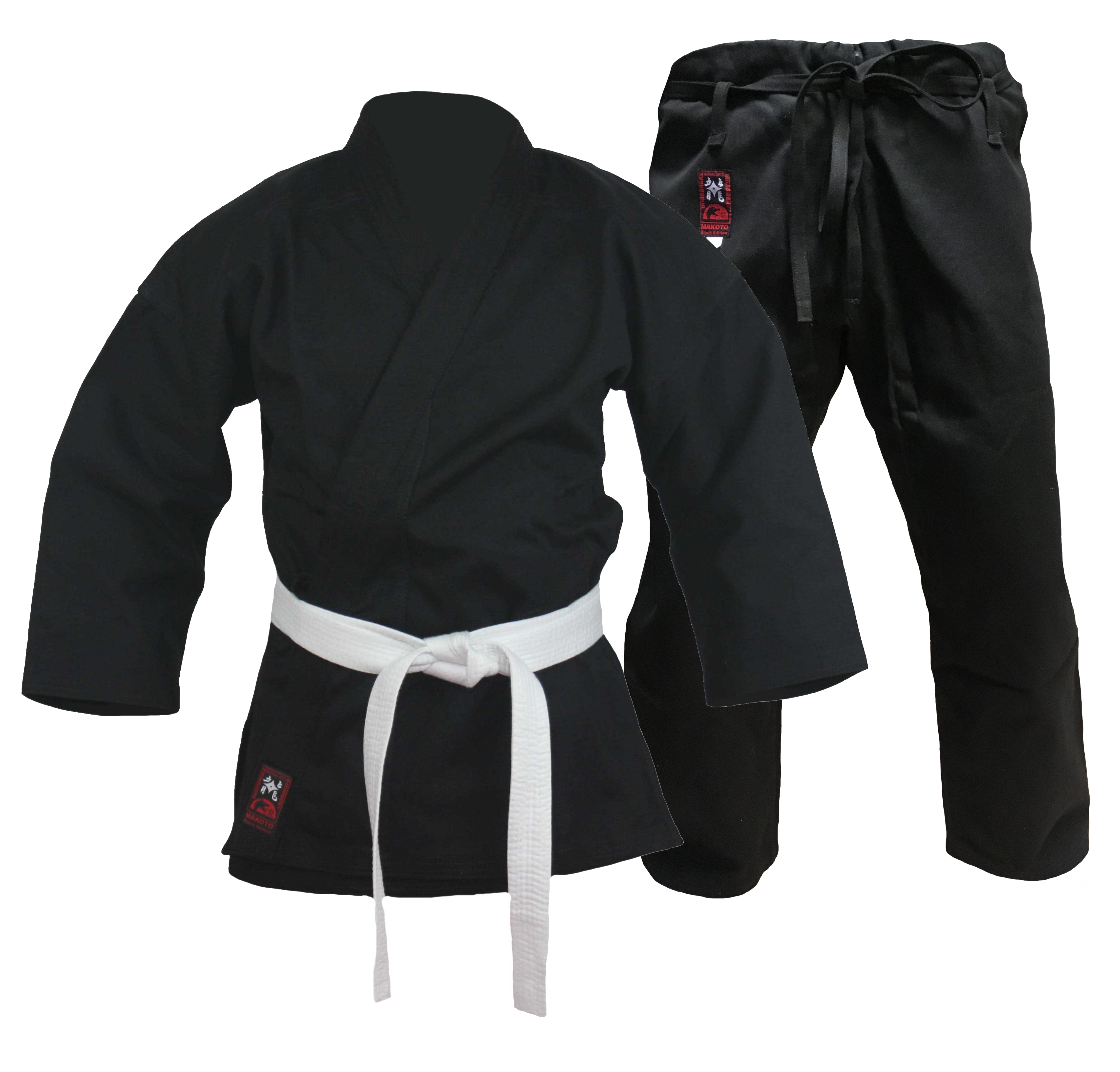Karatehose Makoto 12 oz schwer schwarz Schnürbund