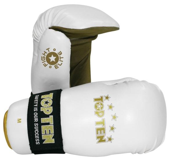 TOP TEN Piontfighter Handschuhe Fight Elite weiß/gold