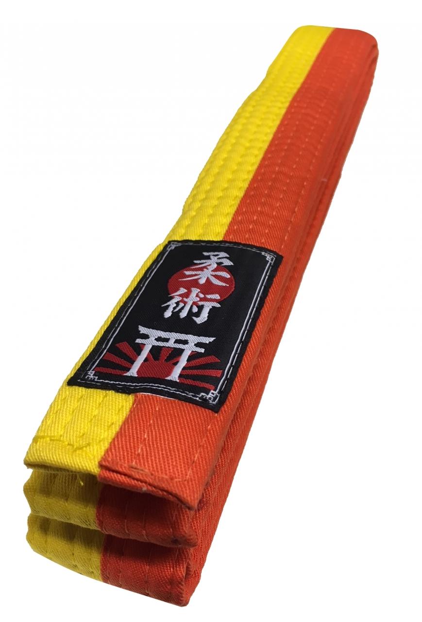 halb Jiu-Jitsu Gürtel Budogürtel gelb-orange halb Ju-Jutsu