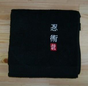 Handtuch schwarz bestickt Ninjutsu